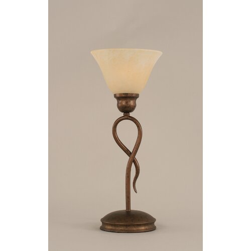 """Toltec Lighting Leaf 13.25"""" H Mini Table Lamp with Glass Shade"""