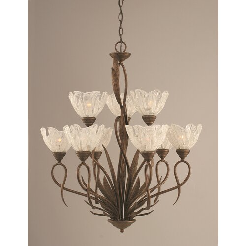 Toltec Lighting Leaf 9 Light  Chandelier with Italian Ice Glass Shade