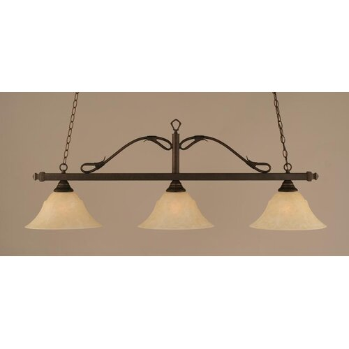 Toltec Lighting 3 Light Wrought Iron Rope Kitchen Island Pendant