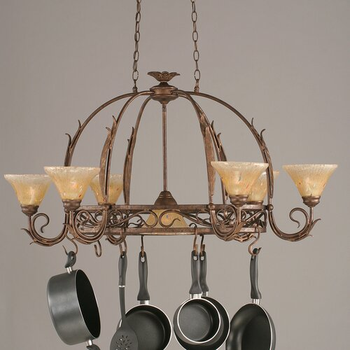 Leaf 8 Light Chandelier Pot Rack with Crystal Glass Shade