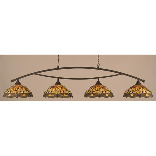 Toltec Lighting Bow 4 Light Downlight Kitchen Island Pendant