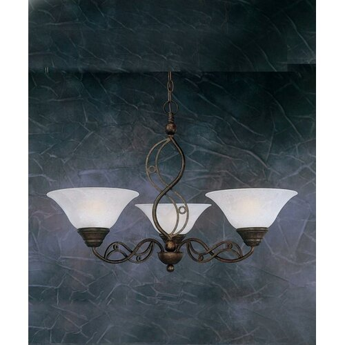 Jazz 3 Up Light Chandelier with Marble Glass Shade
