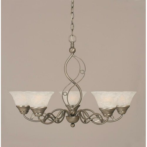 Jazz 5 Light Up Chandelier with Marble Glass Shade