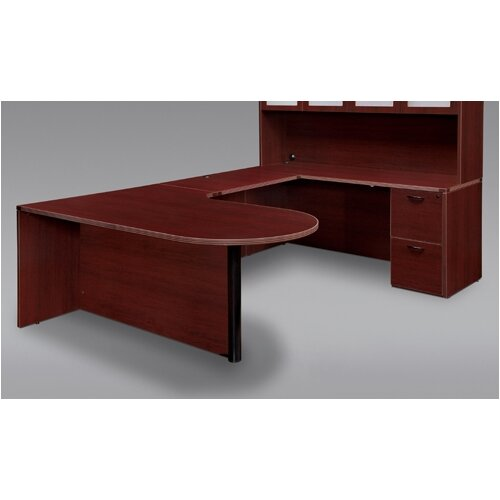 DMI Office Furniture Fairplex Right Executive Corner Peninsula / Bullet U Desk with Grommet Holes and Wire Management