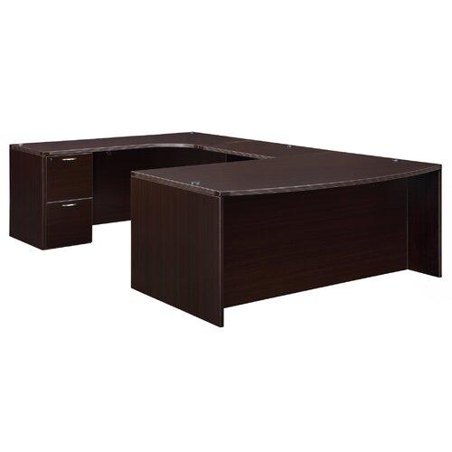 "DMI Office Furniture Fairplex Bow Front ""U"" Executive Desk with Corner Credenza"