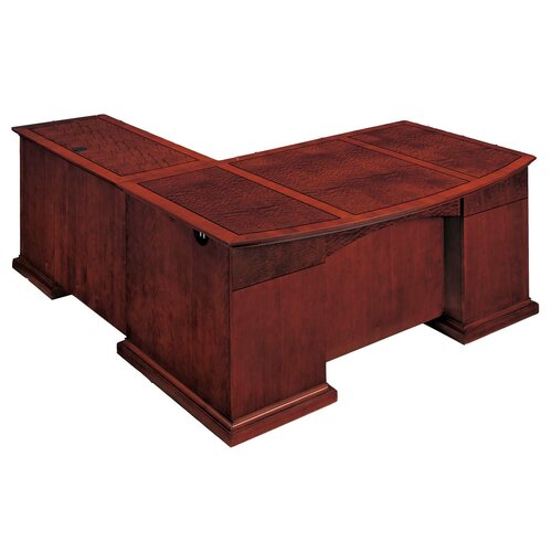 DMI Office Furniture Del Mar L-Shape Bow Front Executive Desk with Right Return