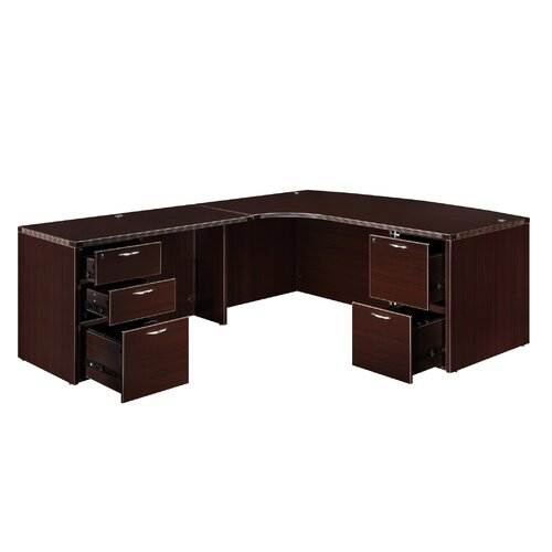"DMI Office Furniture Fairplex Executive Corner Bow Front ""L"" Desk with 5 Drawers"