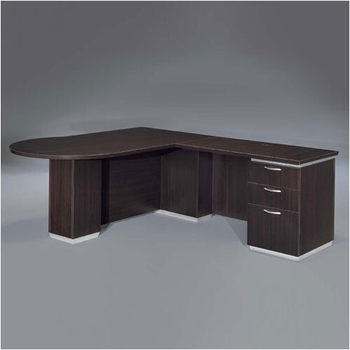"DMI Office Furniture Pimlico 72"" W Right Peninsula L-Shape Executive Desk"