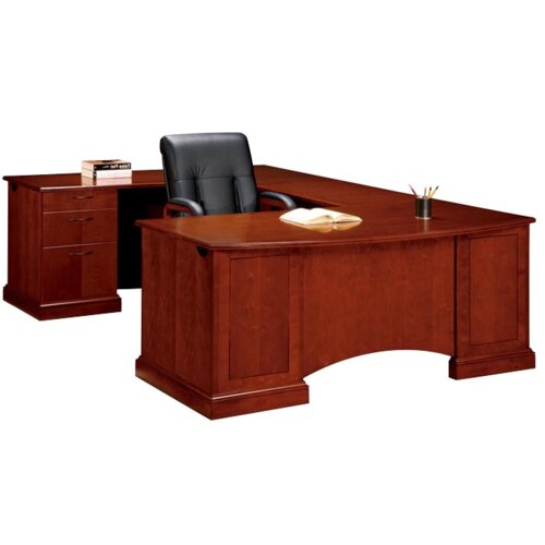 "DMI Office Furniture Belmont Executive Corner ""U"" Desk with 6 Drawers"