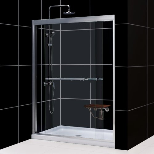 "Dreamline Duet 60"" W x 74.75"" H x 32"" D Bypass Shower Door with SlimLine Base"
