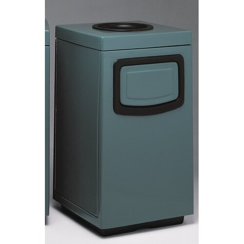Witt Fiberglass Series 30 Gallon Side Entry Square Ash 'N Trash with Doors on Trash Openings