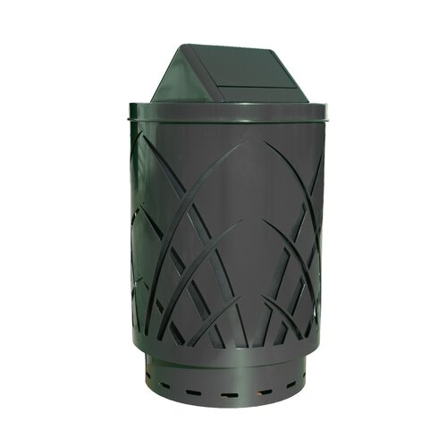 Witt Covington Sawgrass Laser Cut Metal Waste Receptacle with Swing Push Door