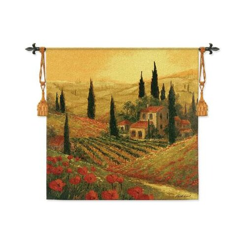 Fine Art Tapestries Poppies of Toscano II BW Tapestry