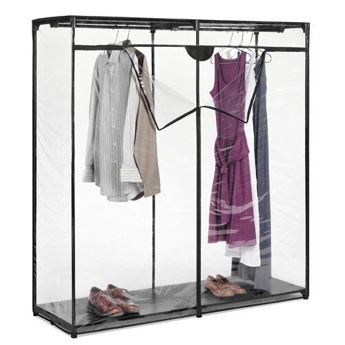 "Whitmor, Inc 60"" Extra Wide Clothes Closet in Crystal Clear"