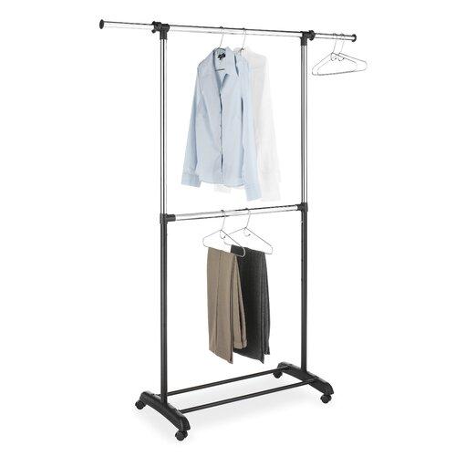 Whitmor, Inc Adjustable Two Rod Garment Rack in Chrome / Black