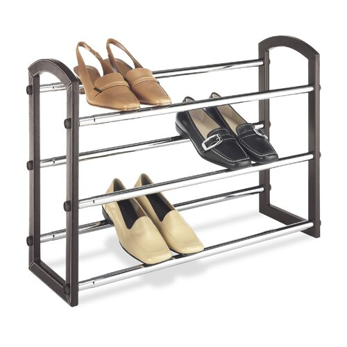 Three Tier Faux Leather Expanding Shoe Rack in Chrome