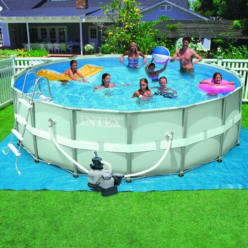 round 48 deep ultra frame pool wayfair. Black Bedroom Furniture Sets. Home Design Ideas