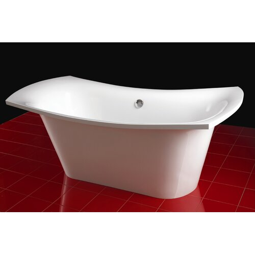 "Aquatica LoveMe 71"" x 34"" Freestanding EcoMarmor Slipper Tub"