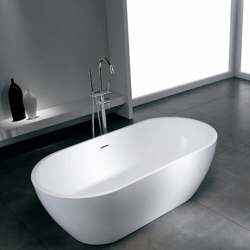 "Aquatica PureScape 63"" x 32"" Freestanding AquaStone Bathtub"