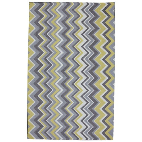 Mohawk Home Outdoor/Patio Yellow Ella Zig Zag Rug