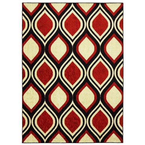 Woodgrain Red Stylin Ogee Rug