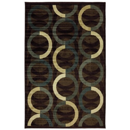 New Wave Brown Ring Rows Rug