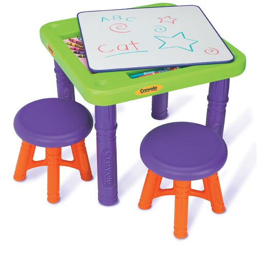 Grow 'n Up Crayola Sit 'n Draw Play Kids' 3 Piece Table and Stool Set