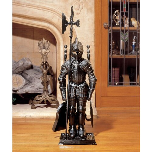 Design Toscano The Black Knight Fireplace Tool Ensemble Figurine