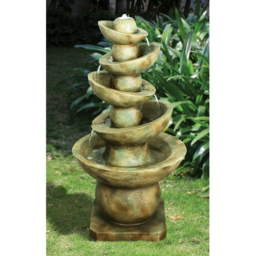 Offset Balance Cascading Resin Tiered Fountain