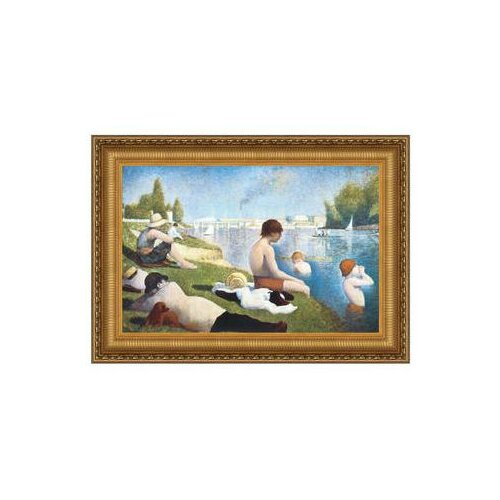 Bathing at Asnieres, 1883 by Georges Seurat Framed Painting