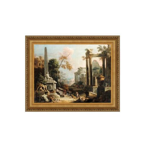 Landscape with Classical Ruins and Figures, 1730 by Marco Ricci Framed Painting