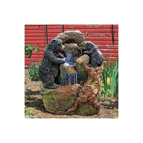 Grizzly Gulch Black Bears Resin Sculptural Fountain