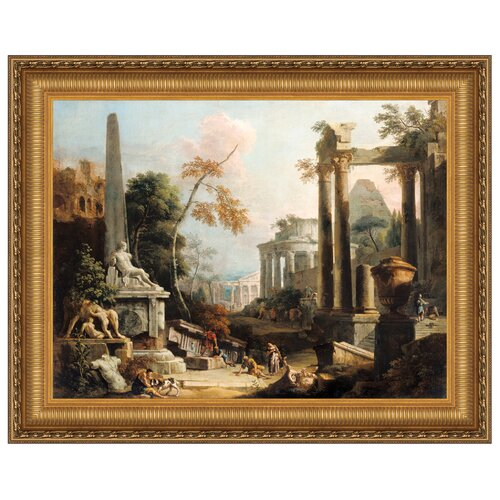 Landscape with Classical Ruins and Figures, 1730 Framed Original Painting