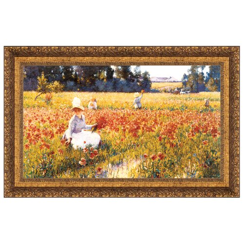 In Flanders Field Where Soldiers Sleep and Poppies Grow, 1890 Framed Original Painting