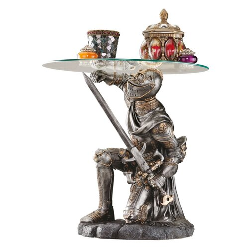 Design Toscano Battle Worthy Knight Sculptural End Table