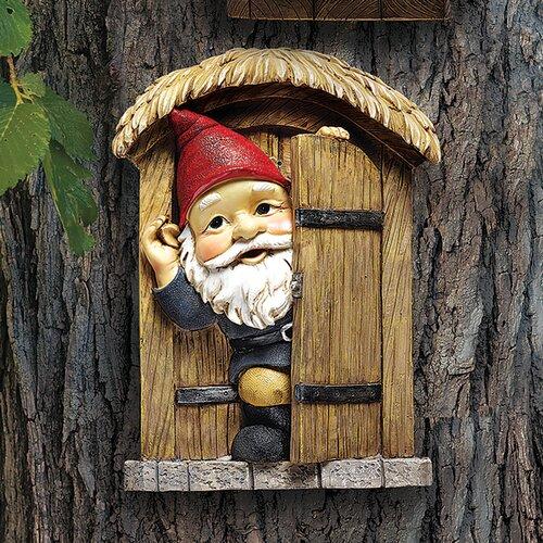 Design Toscano The Knothole Door Gnome Garden Welcome Tree Statue