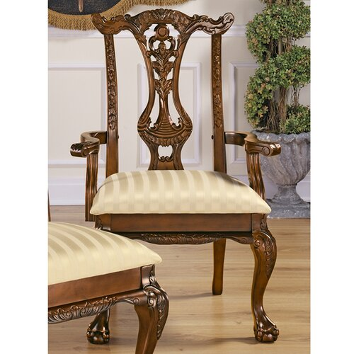 Design Toscano Cupid's Bow Chippendale Fabric Arm Chair