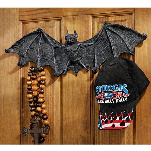 Design Toscano Vampire Bat Sculptural Hooked Wall Hanger in Gray Stone