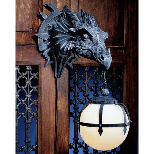 Design Toscano Castle Marshgate Dragon Sculptural Electric Wall Sconce