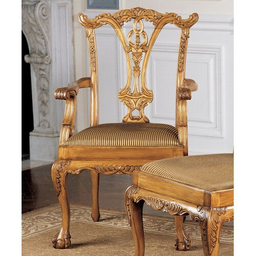 English chippendale fabric arm chair wayfair for English chair design