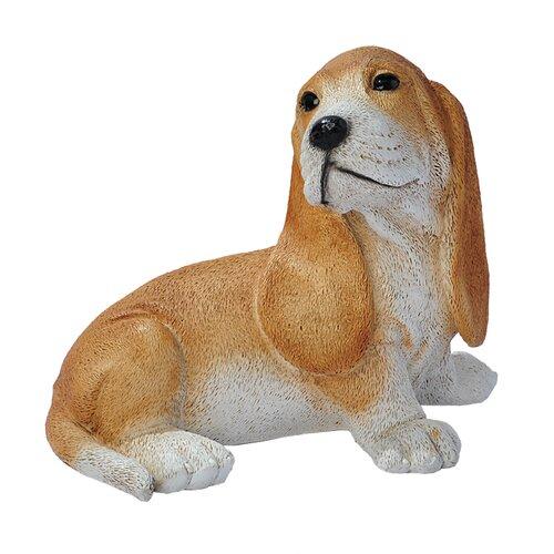 Basset Puppy Dog Statue in Brown