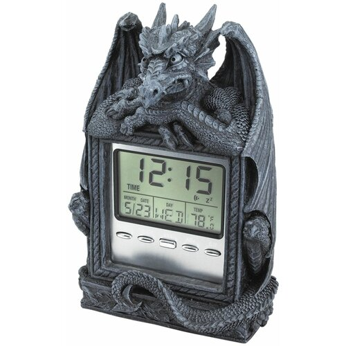 Design Toscano Dragon's Time LCD Alarm Clock in Grey Stone