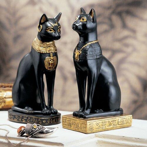 Design Toscano Egyptian Cat Goddess Bastet Statue in Matte Black