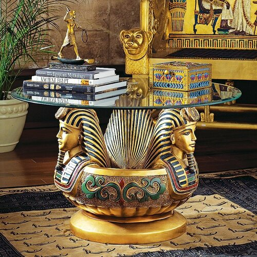 Design Toscano Three Heads of Tutankhamen Sculptural Coffee Table