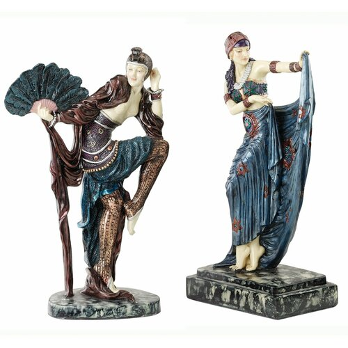 Design Toscano 2 Piece Sunburst and Fan Dancer Art Deco Dancer Figurine Set