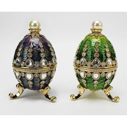 Design Toscano Bogdana Faberge-Style Enameled Valentina and Veronika Egg Set