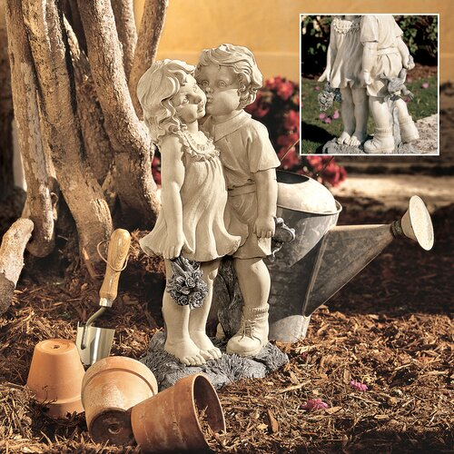 Young Sweethearts Kissing Children Garden Statue