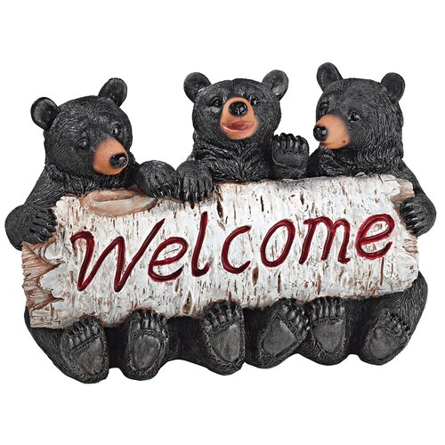 Design Toscano Black Bear Cubs Welcome Statue