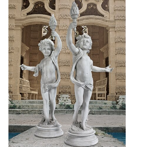 Lighting The Heavens Grande Cherub Sentinel Statue (Set of 2)