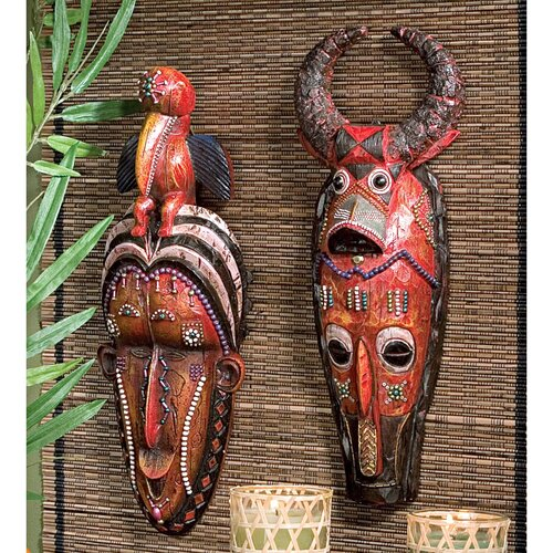 Design Toscano 2 Piece Masks of the Congo Wall Décor Set